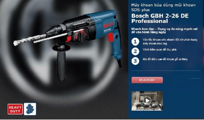 Ứng dụng của Bosch GBH 2-16 DE