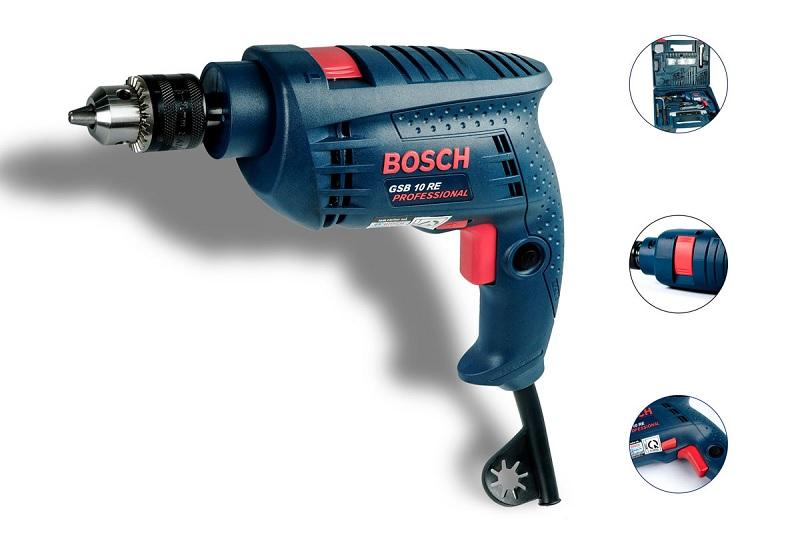Máy khoan chính Bosch GSB 10RE có thiết kế nhỏ gọn, hiện đại