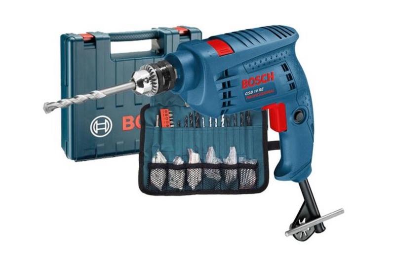 Bộ máy khoan động lực Bosch GSB 10 RE kèm phụ kiện cho khả năng làm việc đa năng