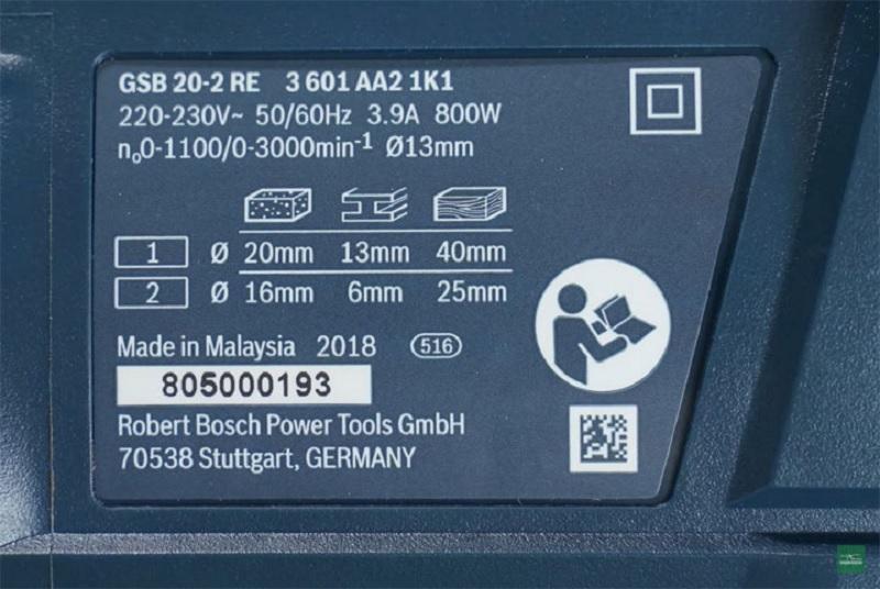 Thông số kỹ thuật của máy khoan động lực Bosch 20-2 RE