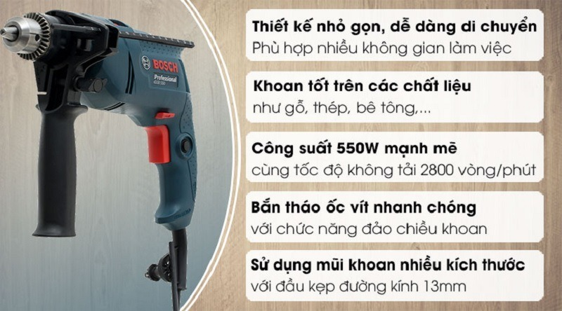Khả năng làm việc của khoan tay Bosch GSB 550