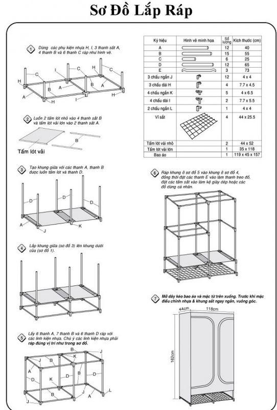 Cách lắp tủ vải khung gỗ