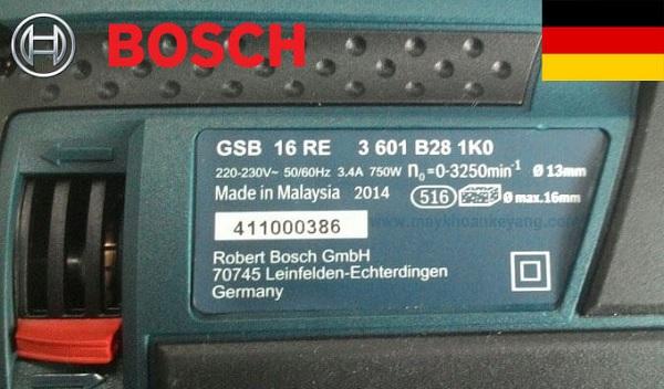 Nhận biết máy khoan Bosch chính hãng dựa vào xuất xứ