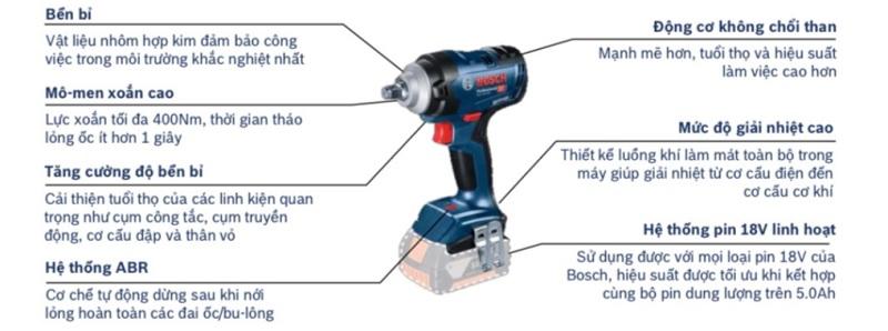 Ưu điểm nổi bật của Bosch GDS 18V-400 Solo